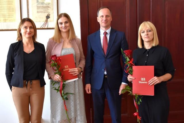 Paniom gratulował Krzysztof Frankenstein, burmistrz Sławna