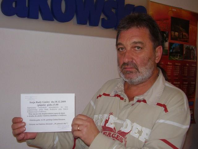 Takich informacji Bogdan Dobrowolski wydrukował kilkadziesiąt. - Liczę, że w proteście wezmą udział wszyscy, którym ten problem leży na sercu - mówi mieszkaniec Jodłówki