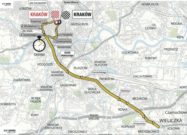 Tour De Pologne 2014 Krakow Utrudnienia W Ruchu Mapa Krakow