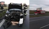 Grojec. Kolizja na autostradzie A4. Samochód osobowy uderzył w bariery energochłonne