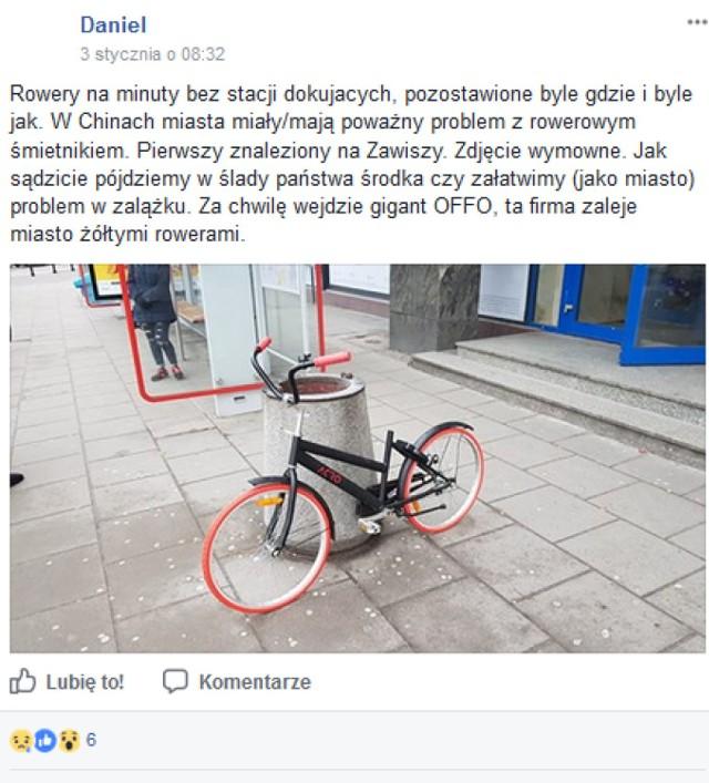 """Rowery """"sharingowe""""  zaśmieca stolicę? Użytkownicy zostawiają jest nawet na przystankach"""