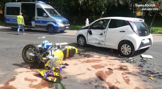 W wypadku w Jastrzębiu ucierpiał motocyklista i jadąca toyotą kobieta.