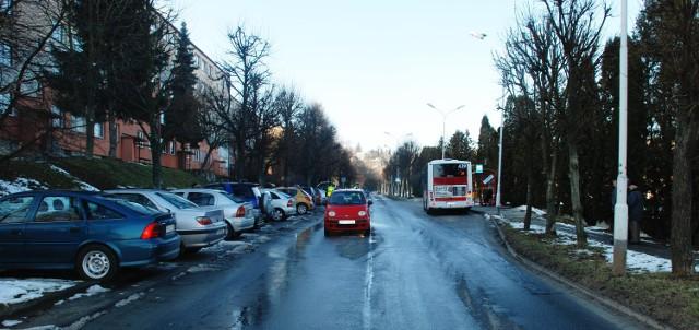 Miejsce wypadku z udziałem pieszego na ul. Opalińskiego w Przemyślu.