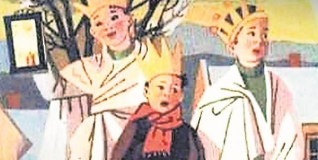 """Trzej Królowie"""" to obrazek z karty świątecznej Marii Gabryel-Rużyckiej, pochodzący z 1962 roku"""