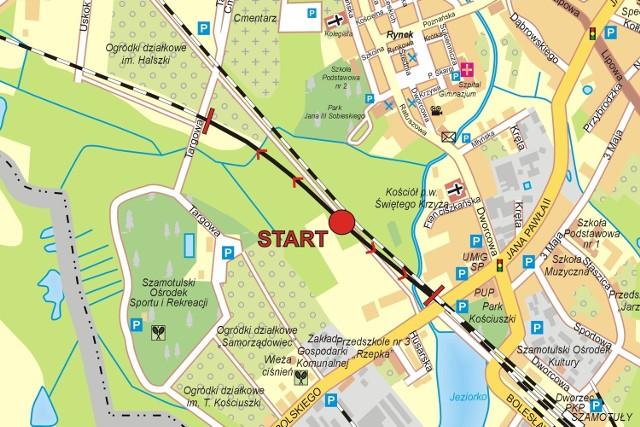 Mapka prezentuje miejsce startu przejazdów