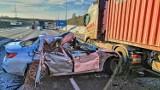 Kraków. Poważny wypadek na autostradzie A4. Jeden pas ruchu zablokowany