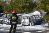 Olkusz. Pożar dwóch samochodów osobowych na parkingu przy Carrefourze. Ostatecznie uszkodzone zostały cztery pojazdy [FILM]