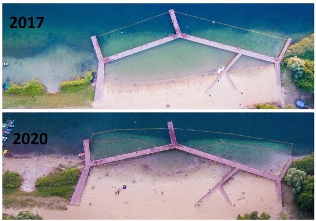 Jezioro Głębokie ma problem od lat. Znikająca woda coraz bardziej kłuje w oczy. A pomost coraz bardziej stoi w piachu.