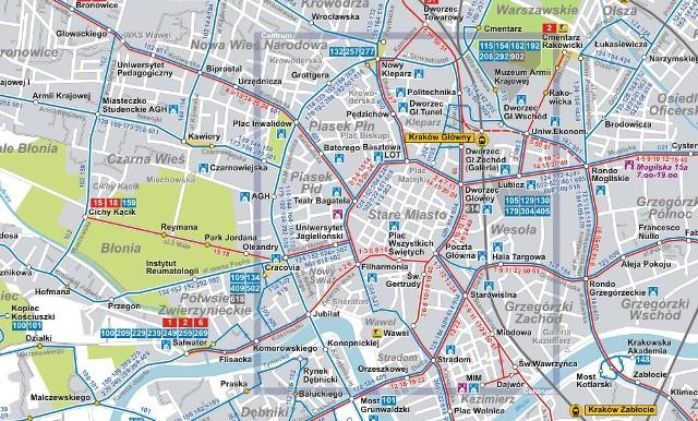 Krakow Nowa Mapa Komunikacji Miejskiej Krakow Nasze Miasto
