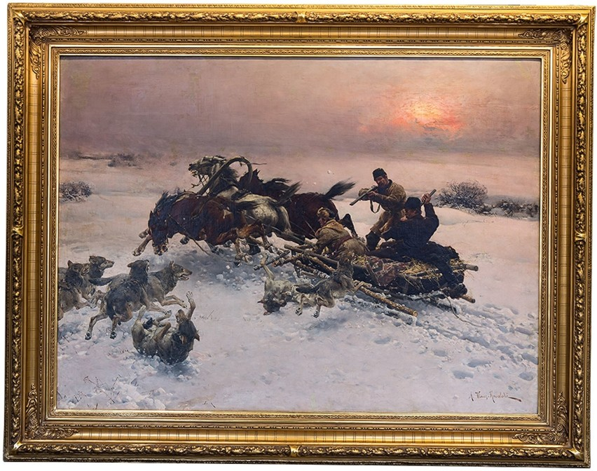 Alfred Wierusz-Kowalski, Napad wilków, 1885-1890W latach...