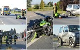 Poważny wypadek z udziałem motocyklisty. Po zderzeniu z autem młody mężczyzna trafił do szpitala we Włocławku [zdjęcia]