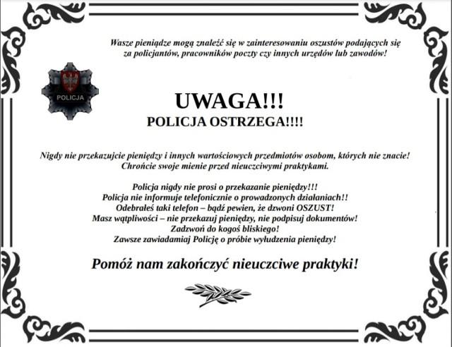 """Policjanci ostrzegają: nasiliły się oszustwa seniorów metodami """"na policjanta"""", """"na wnuczka"""", """" na pocztę polską""""."""