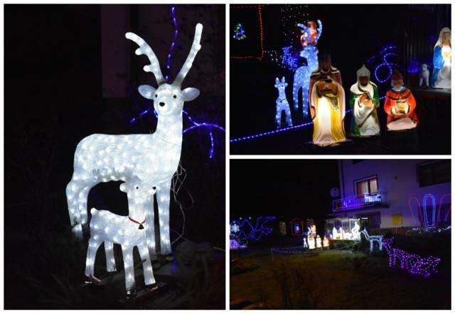 Świąteczne iluminacje wokół domu pana Zdzisława w Sękowej to efekt kilku lat kolekcjonowania. Są radością dla rodziny, ale też wielu mieszkańców