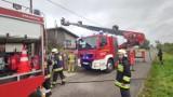 Pożar dachu masarni w Dołach Brzeskich