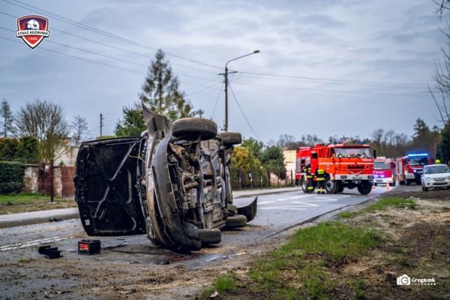 Pijany kierowca dachował autem w miejscowości Młynisko koło Koźminka