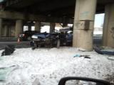 Śmiertelny wypadek na al. Witosa w Lublinie. Ford rozbił się na filarze wiaduktu