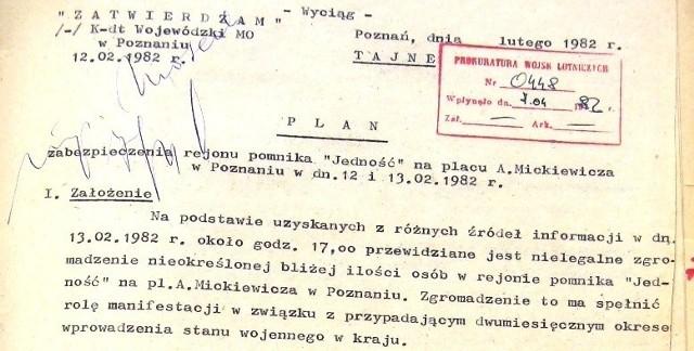 Fragment dokumentu na temat użycia oddziałów ZOMO do tłumienia demonstracji 13 lutego 1982 roku