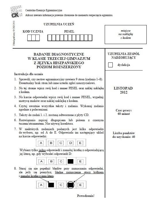 Próbny test gimnazjalny: Język hiszpański rozszerzony [ODPOWIEDZI I ARKUSZ]
