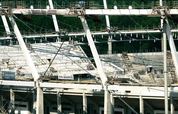 Tak Stadion Śląski wyglądał wczoraj - czekanie na montaż...