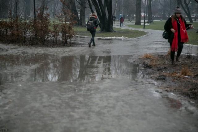 """Tak wyglądał park Krakowski w poniedziałek. """"Ale to jest dosłownie kilka dni w roku"""" - twierdzi dyrektor ZZM"""