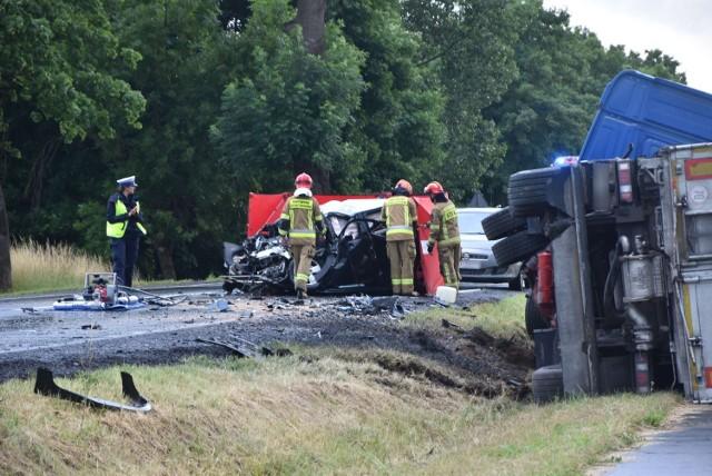 Śmiertelny wypadek na drodze krajowej nr 55 za Malborkiem w kierunku Tragamina w poniedziałek, 5.07.2021 r.
