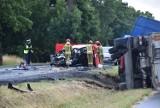 Śmiertelny wypadek na drodze krajowej nr 55 za Malborkiem w kierunku Tragamina 5.07.2021 r. 1 osoba nie żyje, 1 jest ranna