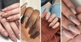 Hybrydowe paznokcie 2021: nudziaki z brokatem, cieliste ombre. Beżowe wzory na paznokcie - inspiracje PINTEREST 25.10.2021