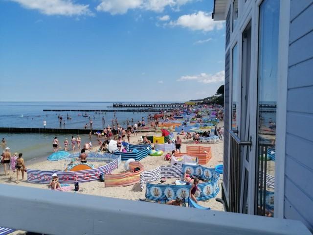 Plaża , Ustronie Morskie, widok na wschód