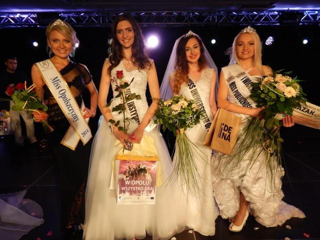 Od lewej: Klaudia Spodzieja (Miss Polski Opolszczyzny 2014) oraz laureatki plebiscytu na UO: Joanna Ziemiańska (Miss Symfonii Piękna), Milena Szewczyk (Miss UO 2015) oraz Ewelina Kurc (Wicemiss UO oraz laureatka naszego plebiscytu na Miss Publiczności).