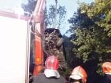 Wypadek w Międzybrodziu Bialskim. Samochód stoczył się z 10-metrowej skarpy [ZDJĘCIA]