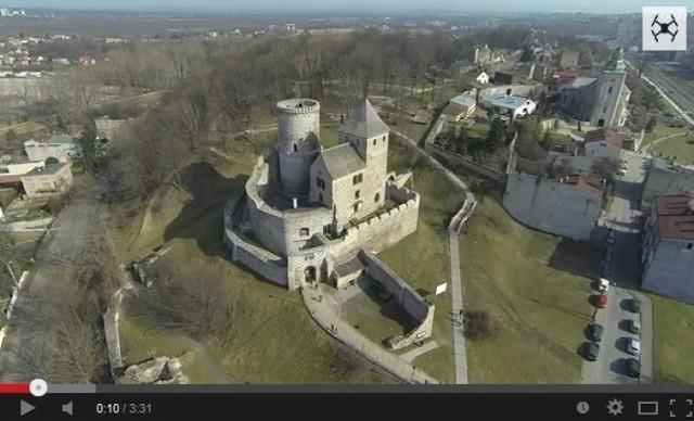 Zamek w Będzinie z lotu ptaka