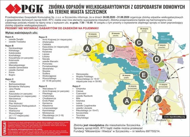 Mapka Szczecinka z rejonami wywozu i datami