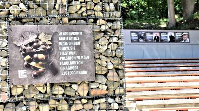 Pierwsza edycja Lubuskiego Lata Filmowego odbyła się w Łagowie w 1969 roku, ale Złotym, Srebrnym i Brązowym Gronem zaczęto nagradzać tu filmy i reżyserów od 1970 roku. O czym przypomina tablica pamiątkowa w łagowskim amfiteatrze