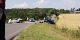 Gmina Leśniowice. Czołowe zderzenie dwóch aut w Teresinie. Trzy osoby trafiły do szpitala