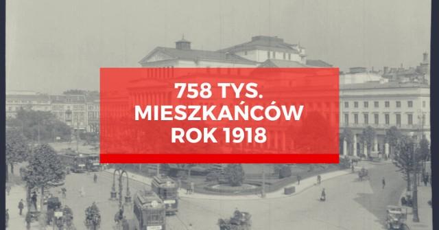 W 1918 roku w Warszawie mieszkało 758 tysięcy osób (57% to kobiety, 43% - mężczyźni). 13 lipca tego roku reskryptem Rady Regencyjnej zostaje powołany Główny Urząd Statystyczny. Po roku działalności uzyskuje ustawową regulację i od tego momentu rozpoczynają się przygotowania do pierwszego powszechnego spisu ludności na całym obszarze Rzeczypospolitej Polskiej.