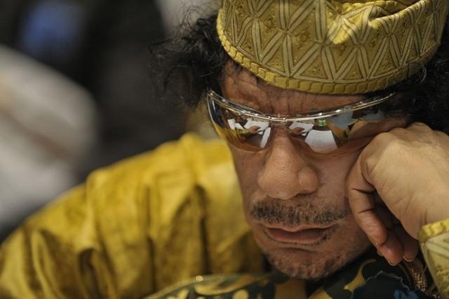 Libijski przywódca Muammar al-Kaddafi.