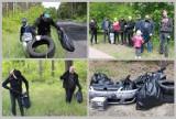 """Tak przebiegało sprzątanie lasu za szpitalem we Włocławku - znaleźli opony, pampersy i """"małpeczki"""" [zdjęcia]"""