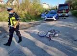Wypadek pod Przemyślem. Dziewczynka na rowerze zderzyła się z seatem [ZDJĘCIA]