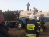 Pożar kombajnu na polu w Buczku