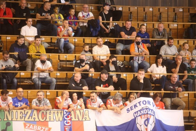 Kibice podczas meczu Górnika Zabrze z Łomżą Vive Kielce     Zobacz kolejne zdjęcia. Przesuwaj zdjęcia w prawo - naciśnij strzałkę lub przycisk NASTĘPNE