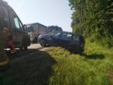 Wypadek na DK 73 w Lubaszu. Zderzyły się dwa samochodu osobowe. Interweniowała straż pożarna i pogotowie ratunkowe [ZDJĘCIA]