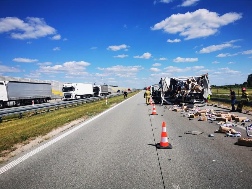 Wypadek na S8 koło Zduńskiej Woli. Utrudnienia w kierunku Łodzi ZDJĘCIA