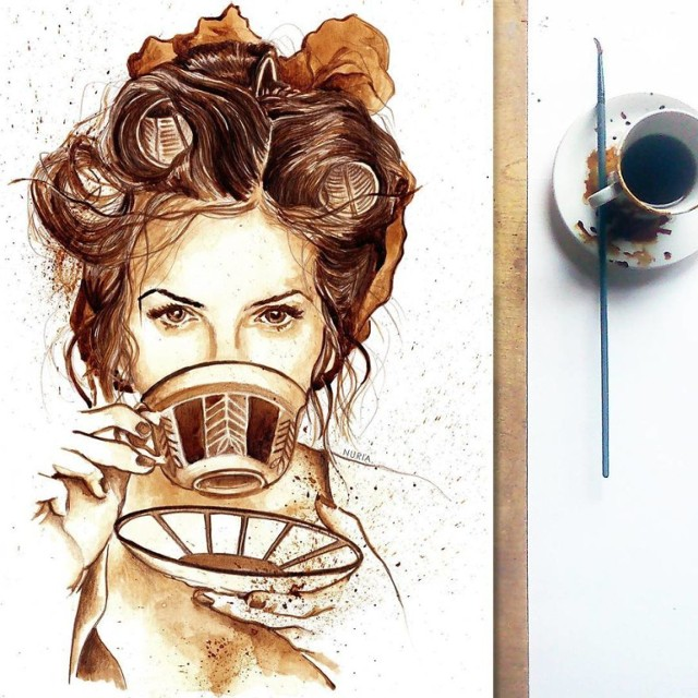 Rysunki malowane kawą. Wyglądają lepiej niż nie jeden obraz!