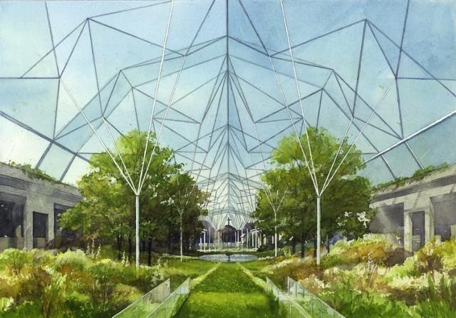 W projekcie znalazło się także meijsce na zadaszony ogród prowadzący do wnętrza świątynii. - Roślinność kształtowana genetycznie, urządzenia wykorzystywania energii słonecznej oraz szkła eliminujące bezpośredni wpływ energii słonecznej do wnętrza, elektroniczne zmiany przejrzystości szkła to elementy reprezentujące poznanie przez Rozum. W środku ogrodu wypływa symboliczne źródło Prawdy Rozumu. Refleksja nad nim, nad Prawdą Nauki ukierunkowuje głębsze poznanie Słowa Bożego, a Słowo Boże ukierunkowuje i rozbudza poszukiwanie poznania rozumowego - piszę autor.