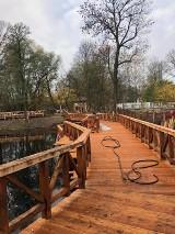 Kraków. Nowy Park Duchacki nabiera kształtów. Pomost prawie gotowy. Są też ławeczki