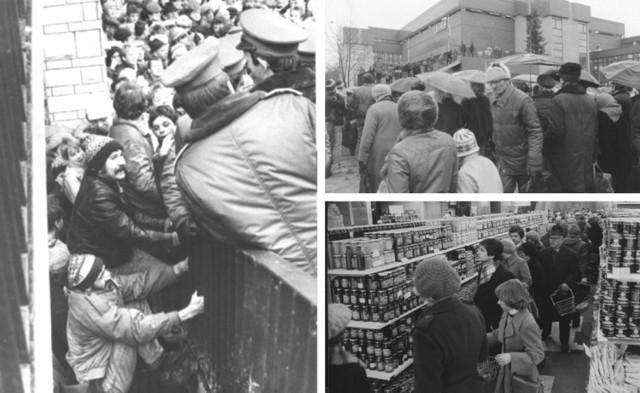 """Gdy je otwierano, tłumy rozbijały witryny, ludzie mdleli, a milicja pilnowała porządku. Często trzeba było zamykać główne ulice. Oto """"galerie handlowe"""" z czasów PRL. Tam na zakupy jeździł cały Śląsk.   KLIKNIJ W KOLEJNE ZDJĘCIE/PRZESUŃ KURSOR W PRAWO"""