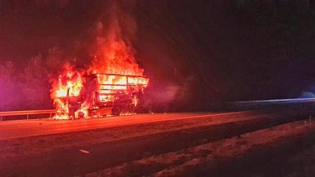 Pożar ciężarówki na A4