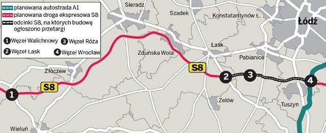 Plan trasy S8 w Łódzkiem