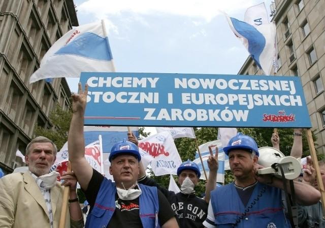 W czerwcu w Warszawie protestowali pracownicy Stoczni Gdańskiej