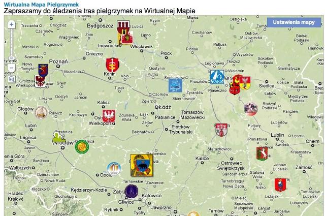 mapa pielgrzymek